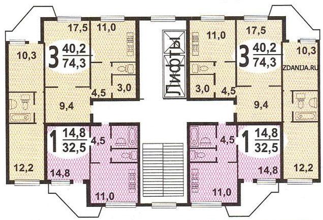 Типовые планировки квартир в жилых домах пд 4 - пд4 и пд4м.