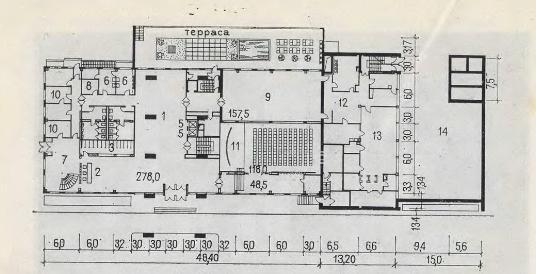 Пример планировочного решения первого этажа гостиницы