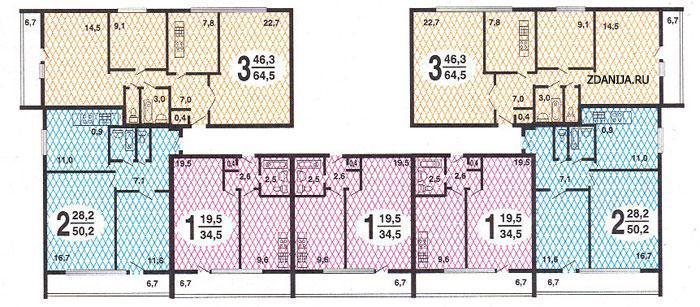 Панельно-блочные дома серии II-68, планировки квартир