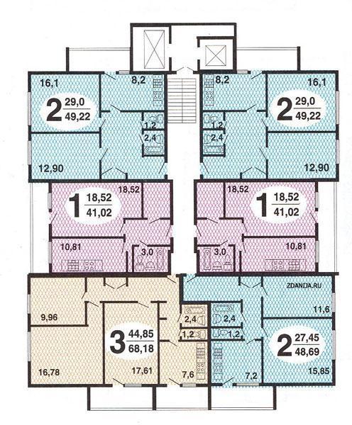 Москворецкая (Смирновская, Тишинская) башня, серия II-67, планировки квартир с размерами