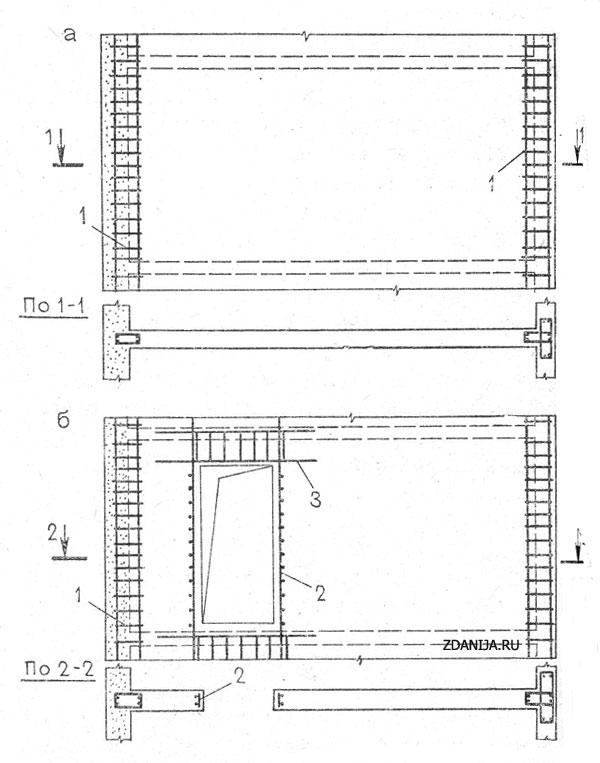 Схемы конструктивного армирования монолитных внутренних   стен  для  обычных условий строительства - Внутренние стены и перегородки фото