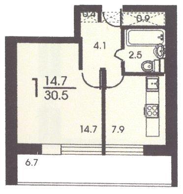 Планировка однокомнатной квартиры В ( серия II 68 ) - II 68 серия жилые дома фото