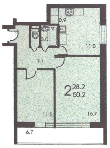 Планировка двухкомнатной квартиры А ( серия II 68 ) - II 68 серия жилые дома фото