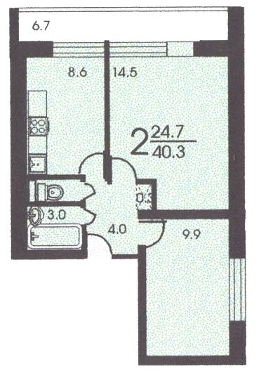 Планировка двухкомнатной квартиры В ( серия II 68 ) - II 68 серия жилые дома фото