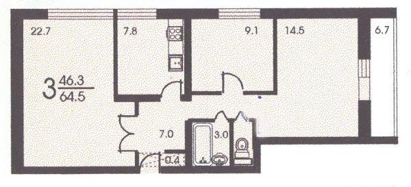 Планировка трёхкомнатной квартиры ( серия II 68 ) - II 68 серия жилые дома фото