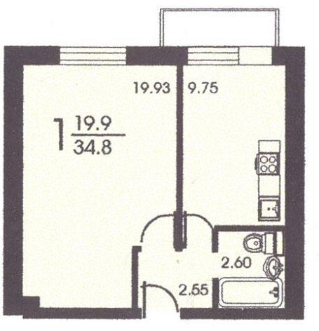 Планировка однокомнатной квартиры  ( серия II 18) - II-18 серия - жилые дома фото
