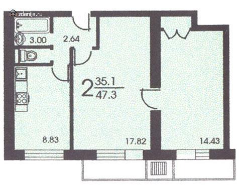 Планировка двухкомнатной квартиры С ( серия II 18 ) - II-18 серия - жилые дома фото