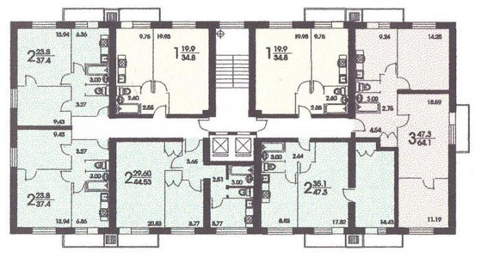 размещение квартир в секциях дома серии II 18 - II-18 серия - жилые дома фото