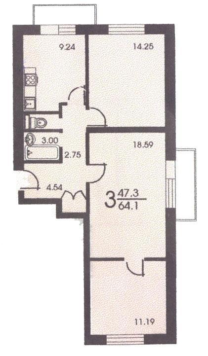 Планировка трёхкомнатной квартиры ( серия II 18 ) - II-18 серия - жилые дома фото