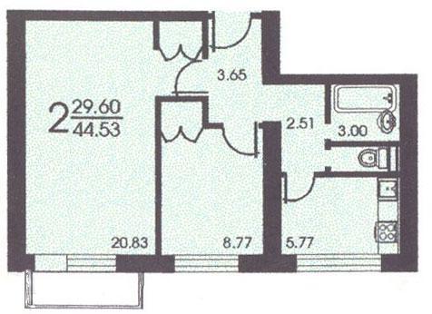 Планировка двухкомнатной квартиры В ( серия II 18 ) - II-18 серия - жилые дома фото