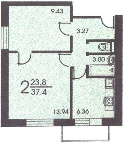 Планировка двухкомнатной квартиры А ( серия II 18 ) - II-18 серия - жилые дома фото
