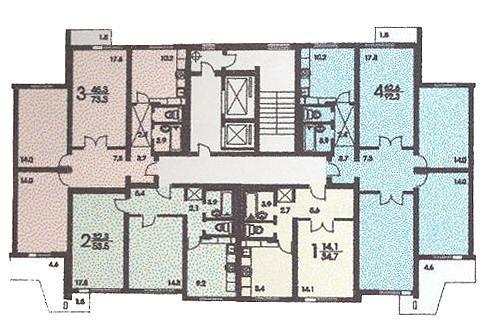 размещение квартир в секциях дома серии П3 - п-3 (жилые дома серии п3) фото