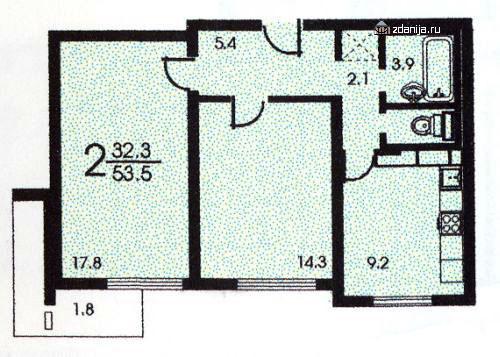 Планировка двухкомнатной квартиры  ( серия П3 ) - п-3 (жилые дома серии п3) фото