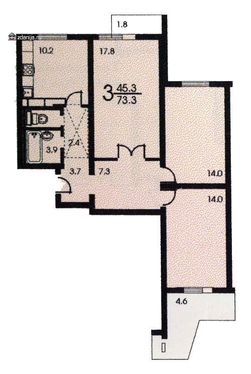Планировка трёхкомнатной квартиры ( серия П3 ) - п-3 (жилые дома серии п3) фото