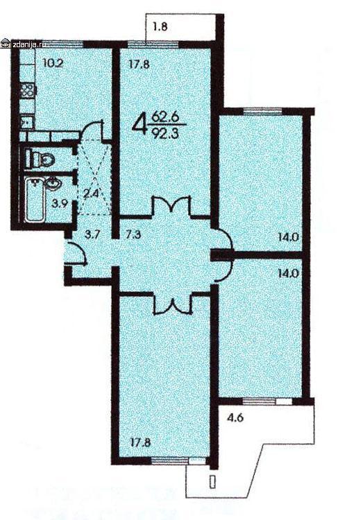 Планировка четырёхкомнатной квартиры ( серия П 3 ) - п-3 (жилые дома серии п3) фото