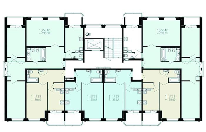 размещение квартир в секциях дома серии Бекерон - Бекерон фото