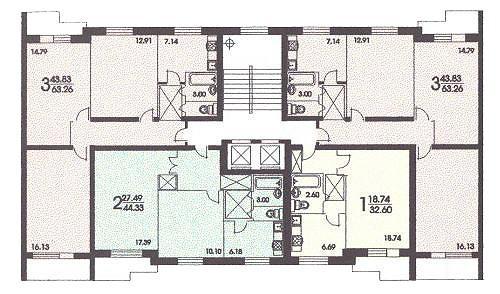 размещение квартир в секциях дома серии II 57 - серия II 57 фото