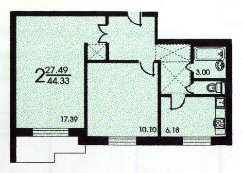 Планировка двухкомнатной квартиры  ( серия зданий II 57 ) - серия II 57 фото