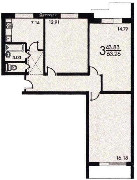 Планировка трёхкомнатной квартиры ( серия II 57 ) - серия II 57 фото