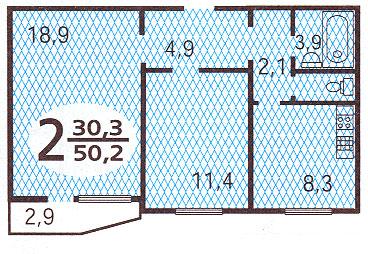 планировка  двухкомнатной квартиры в доме серии п44 - Дома серии П44, планировки квартир с размерами фото