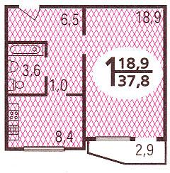 Планировка однокомнатной квартиры  ( серия п44 ) - Дома серии П44, планировки квартир с размерами фото
