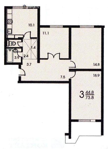 Планировка трёхкомнатной квартиры ( серия п 44 ) - дома сери.