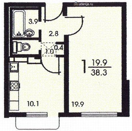 Планировка однокомнатной квартиры серии копэ - Дома серии КОПЭ, планировки с размерами фото