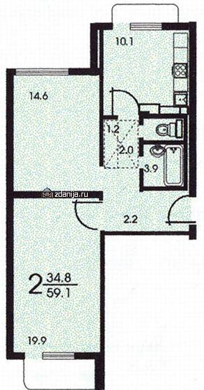 Планировка двухкомнатной квартиры А (серия КОПЭ) - Дома серии КОПЭ, планировки с размерами фото