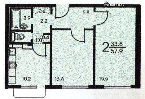 Планировка двухкомнатной квартиры B ( серия зданий копэ ) - Дома серии КОПЭ, планировки с размерами фото