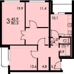 Планировка трёхкомнатной квартиры А (серия КОПЭ) - жилые дома  серии КОПЭ фото