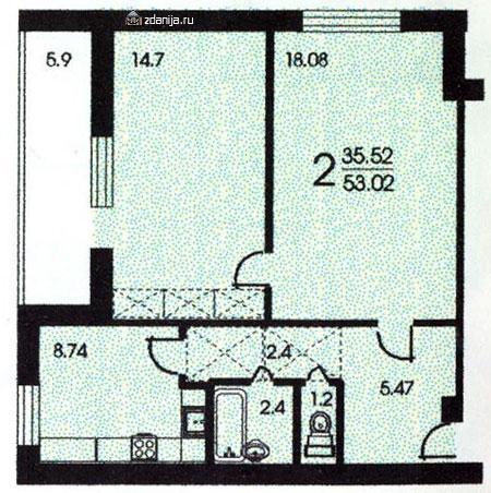 Планировка двухкомнатной квартиры  ( башня Вулыха ) - Башня Вулыха фото