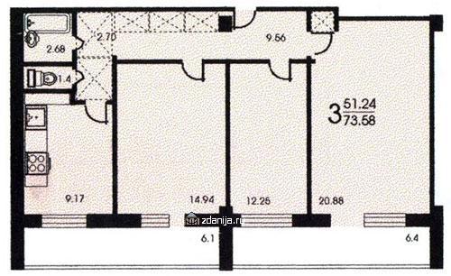 Планировка трёхкомнатной квартиры башня Вулыха - Башня Вулыха фото