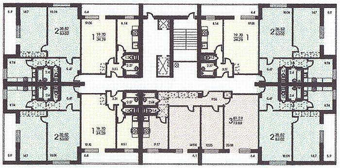 расположение квартир в секции жилого дома серии Башня Вулыха - Башня Вулыха фото