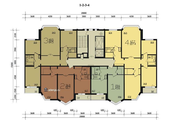 планировка квартир в типовой секции дома п44м - П44М фото