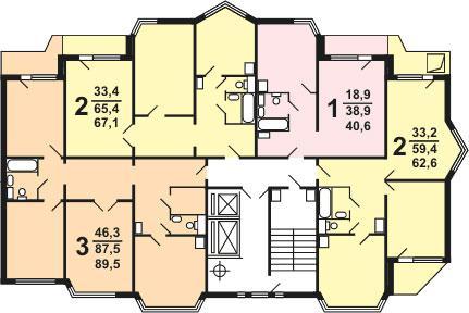 Планировка квартир секции типа 1-1, 1э-1 типовой серии жилого дома серии п 44 тм - П44ТМ фото