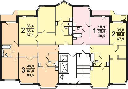 Планировка квартир секции  типа 1-2 типовой серии жилого дома серии п 44 тм - П44ТМ фото
