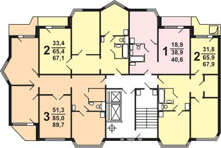 Планировка квартир секции  типа 1-3, 1э-3 типовой серии жилого дома серии п 44 тм - П44ТМ фото