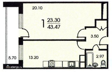 планировка однокомнатной квартиры А в жилом доме серии < смирновская башня > - Москворецкая башня фото