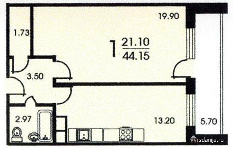 Смирновская башня - планировка однокомнатной квартиры B - Москворецкая башня фото