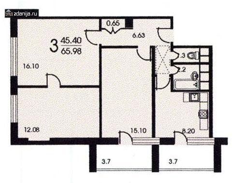 Планировка трёхкомнатной квартиры - Москворецкая башня фото