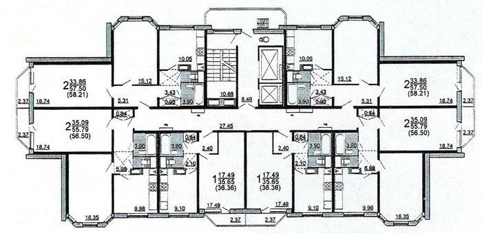 Планировка жилой секции в доме серии п3м - дома серии п3м-1/16 фото