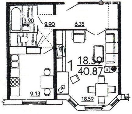 планировка однокомнатной квартиры в жилом доме серии П3Мш - дома серии п3м-1/16 фото