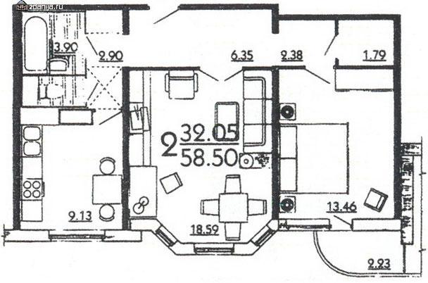 Планировка двухкомнатной квартиры в жилом доме серии П3Мш - дома серии п3м-1/16 фото