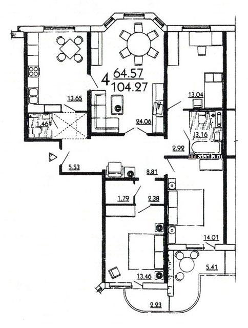 планировка четырёхкомнатной квартиры в жилом доме серии П3Мш - дома серии п3м-1/16 фото