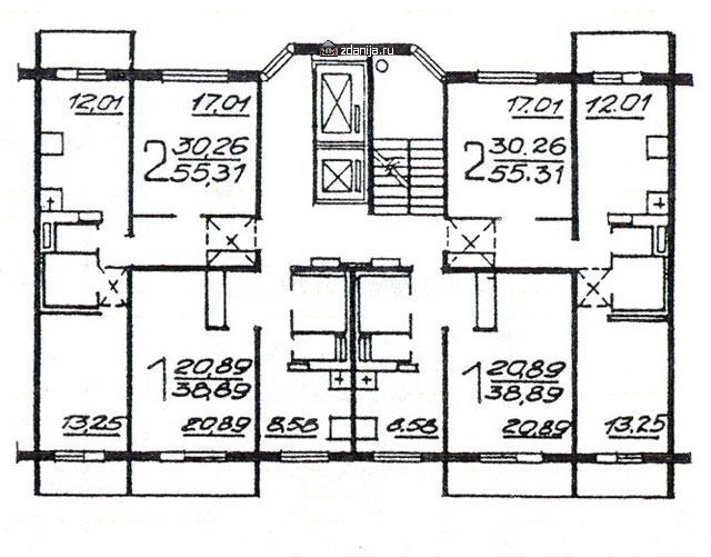 Планировка жилой секции в доме серии п46м - однокомнатные и двухкомнатные квартиры - П46М фото