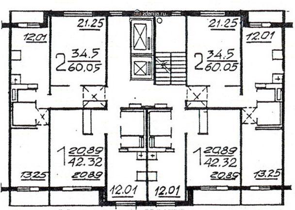 Планировка жилой секции в доме серии п46м 1-1-2-2 - П46М фото