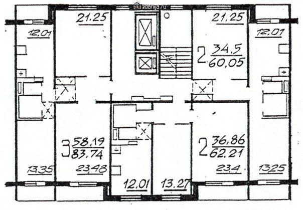 Планировка жилой секции в доме серии п46м 3-2-2 - П46М фото