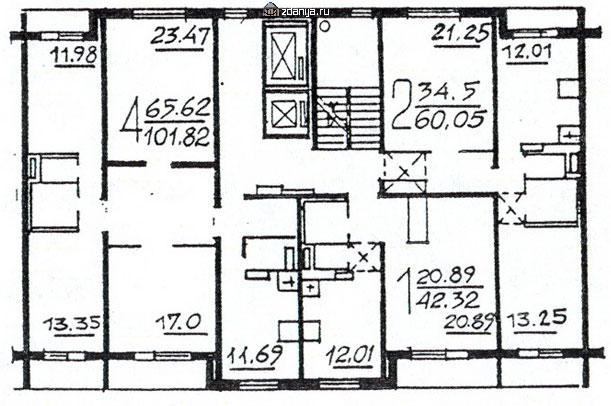 Планировка жилой секции в доме серии п46м 1-2-4 - П46М фото