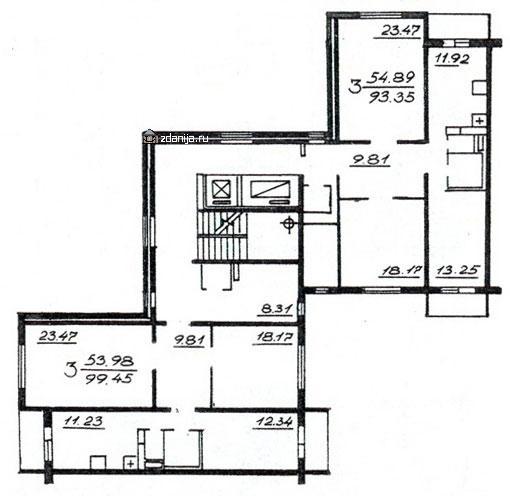 Планировка жилой секции в доме серии п46м 3-3 - П46М фото