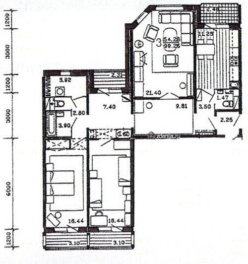 планировка трёхкомнатной квартиры в жилом доме серии п55м - п55м фото